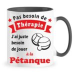 mug thérapie pétanque rouge